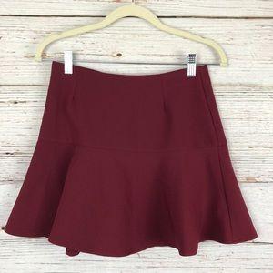 ASOS Peplum Skater Style Mini Skirt Maroon Sz 4